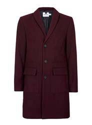 Topman Red Plum Wool Rich Overcoat