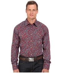 Roper Big Tall 0050 Plaza Paisley Red Men's Clothing