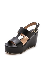 Salvatore Ferragamo Fiamma Wedge Sandals Nero