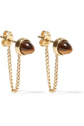 Cornelia Webb Gold Plated Tiger's Eye Earrings Gold Brown