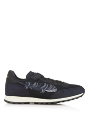 Alexander Mcqueen Feather Embroidered And Leather Sneakers