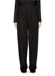 Ms Min Pleated Front Sheer Wide Leg Pants Black
