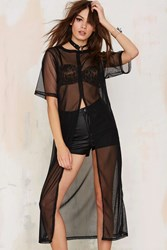 Nasty Gal Ragged Priest Clear Sky Slice Maxi Top Black