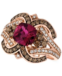 Le Vian Raspberry Rholodite Garnet 1 3 4 Ct. T.W. And Diamond 1 2 Ct. T.W. Ring In 14K Rose Gold