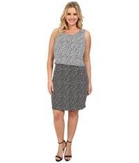 Vince Camuto Plus Plus Size Sleeveless Color Block Dotted Dabs Layered Dress Rich Black Women's Dress
