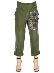 Amen Embellished Canvas Cargo Pants