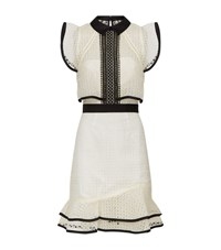 Self Portrait Contrast Trim Eyelet Lace Dress Female Ivory