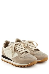 Brunello Cucinelli Suede And Fabric Sneakers Beige