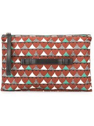 Red Valentino Heart Print Clutch Brown