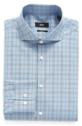 Boss Men's Big And Tall Mark Us Sharp Fit Plaid Dress Shirt Bright Blue