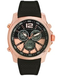 Sean John Men's Analog Digital Chronograph Black Silicone Strap Watch 46Mm 10027406