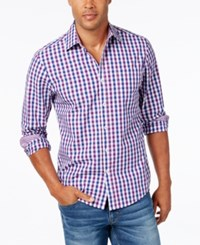 Weatherproof Men's Two Tone Large Check Long Sleeve Shirt Purple