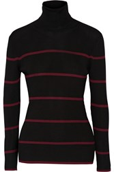 Fendi Striped Ribbed Wool Turtleneck Sweater Black
