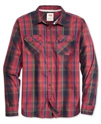 Levi's Men's Long Sleeve Marled Plaid Work Shirt Night Sky