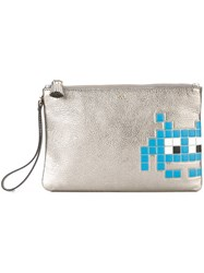 Anya Hindmarch 'Space Invaders' Clutch Metallic