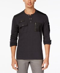 Inc International Concepts Men's Never Alone Pocket Henley Only At Macy's Dark Lead