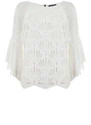 Mint Velvet Cream Lace Fluted Sleeve Top Cream