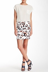 L.A.M.B. Leopard Twill Skirt White