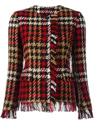 Tagliatore Plaid Frayed Jacket Red