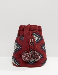 Hat Attack Knit Slouchy Bag Burgundy Red
