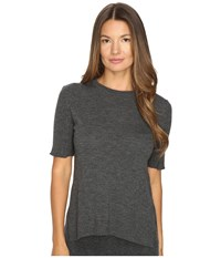 Cashmere In Love Sahar Open Sides Ribbed Tee Flannel Grey