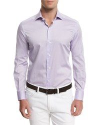 Ermenegildo Zegna Summer Chambray Long Sleeve Sport Shirt Purple Men's
