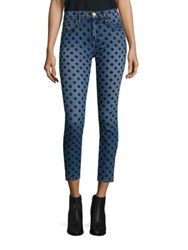 Current Elliott The Stiletto Velvet Polka Dot Skinny Jeans Flocked Dot