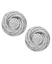 Wrapped In Love Diamond Pave Knot Stud Earrings In Sterling Silver 1 Ct. T.W.