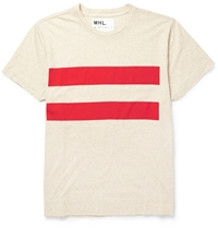 Margaret Howell Mhl Striped Cotton Blend T Shirt White