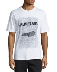 Helmut Lang Logo Text Graphic T Shirt White White Pattern
