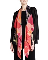 Caroline Rose Waterfall Printed Georgette Jacket Multi Black