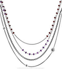 David Yurman Necklace With Amethyst And Garnet Silver Multi