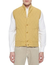 Loro Piana Quilted Button Front Sweater Vest Yellow