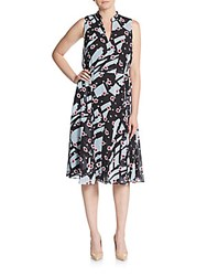 Anne Klein Abstract Floral Print Georgette Dress Bright Water