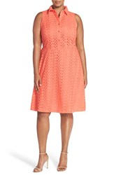 Plus Size Women's London Times Eyelet Fit And Flare Shirtdress Coral