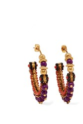Etro Gold Plated Beaded Hoop Earrings Gold Purple