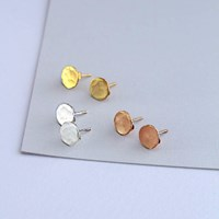 Posh Totty Designs Hammered 18Ct Rose Gold Plated Disc Earrings