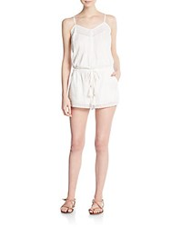 Twelfth St. By Cynthia Vincent Lace Trimmed Cotton Short Jumpsuit White