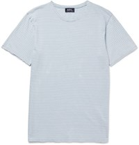 A.P.C. Striped Cotton Jersey T Shirt Blue