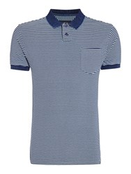 Criminal Trent Stripe Pique Polo Blue