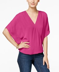 Inc International Concepts Flutter Sleeve Blouse Only At Macy's Intense Pink