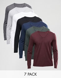 Asos Long Sleeve T Shirt With V Neck 7 Pack Save 25 Multi