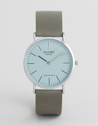 Reclaimed Vintage Grey Leather Watch With Grey Dial Grey