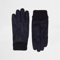 River Island Mens Navy Suede Cuff Knit Gloves