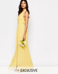 Tfnc Wedding Halter Chiffon Maxi Dress Pastel Yellow