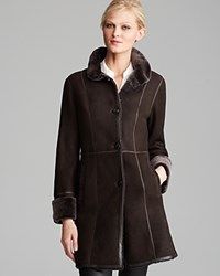 Maximilian Shearling Lamb Three Quarter Sleeve Coat With Leather Trim