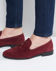Asos Tassel Loafers In Burgundy Faux Suede Burgundy Red