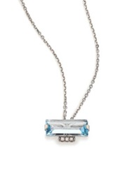 Suzanne Kalan Soleil Blue Topaz Diamond And 14K White Gold Layered Baguette Pendant Necklace White Gold Blue Topaz