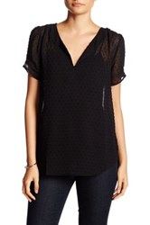 Daniel Rainn Mini Dot Pinch Sleeve Blouse Petite Black