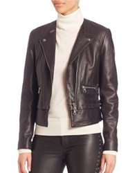 Set Asymmetric Zip Front Leather Moto Jacket Black